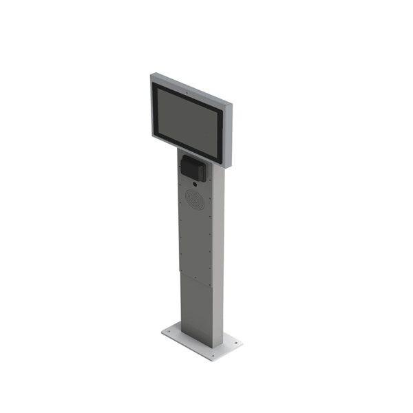 We design and manufacture display kiosks at entrance and exit. Touch screen, microphone, speakers, intercom software.